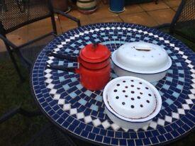 Vintage enamel pots for decoration