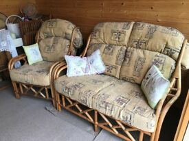 Cane Conservatory Suite ( 2 seater settee and 2 chairs)