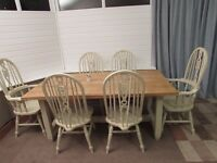 STUNNING OAK REFECTORY TABLE & SIX WHEELBACK CHAIRS SHABBY CHIC ANNIE SLOAN WAX