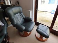 Reclining, swivel chairs with footstools