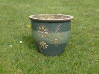 Green Glazed Ceramic Garden Planter Floral Dec Garden Pot Plant Pot 25.5cm Tall