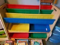 Childrens bookshelf and toy storage boxes