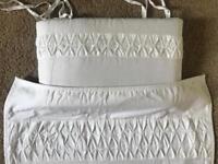 Mothercare pure white crib bedding