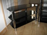 tv stand and hifi stand black glass and crome