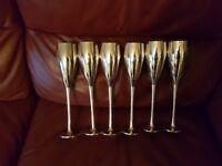 Set of 6 Silver Champagne Flutes - P & O emblem