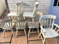 7 x farmhouse style dining / kitchen chairs