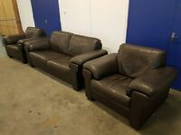 BROWN LEATHER SET 3 SEATER SOFA / LOUNGE SUITE / SETTEE & 2 ARMCHAIRS / CHAIRS DELIVERY AVAILABLE