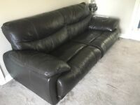 Chocolate brown leather sofa and 2x armchairs