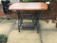 Cast iron table oak and pine top