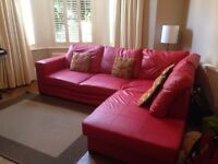 Westpoint red faux leather corner sofa