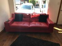 Red 3 seater leather sofa
