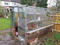 Greenhouse. Metal frame and glass panes. Includes staging. Buyer to disassemble and remove.