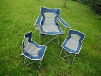 Set of folding camping chairs. I x adult 2 x child. Festival, fishing, garden, camping