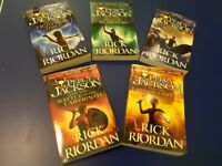 Set of 5 Percy Jackson books by Rick Riordan. Age 10+. VGC.