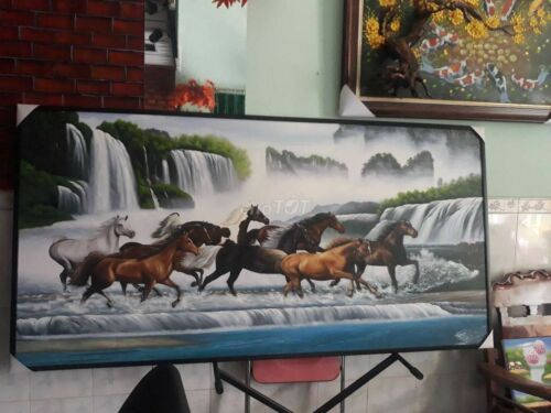 poster painting of horses walking on a waterfall no frames 24x36