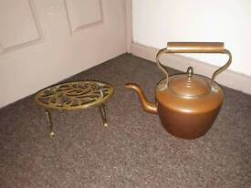 Brass copper kettle and trivet