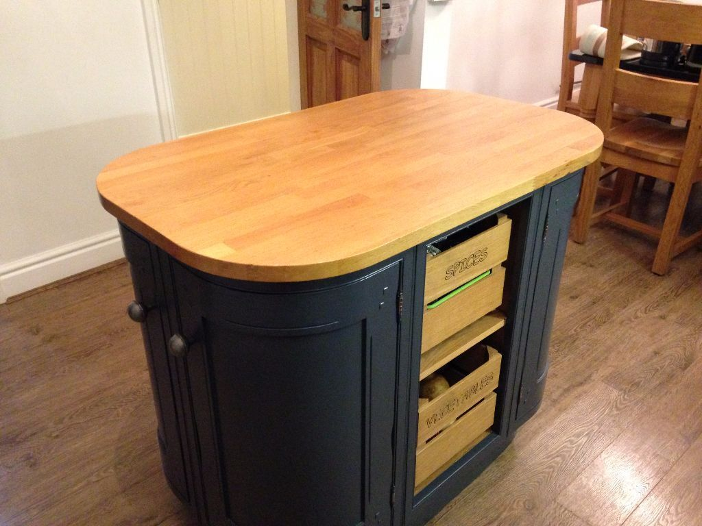 Kitchen Island Unit Oval Shape with Solid Oak Worktop | in ...