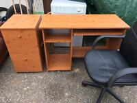 Work table filling cabinet and chair