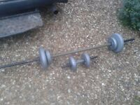 WEIGHTS FITNESS SET DP, 1x dumbell and 1x barbell 20kg total approx, can deliver to norwich