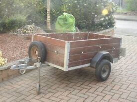 Very robust WOODEN 5' x 3' trailer, with spare wheel, jockey wheel and cover.