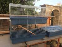 Large double level inside cage, 100cms long, 91cms high, 52cms wide, excellent condition
