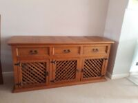 Mexican pine sideboard, table and four chairs