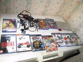 silver slimline ps2 bundle 10x games,controller