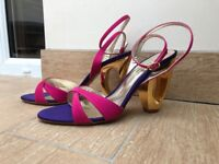 BRAND NEW IN BOX DUNE UK 6 STATEMENT HOLLOW HEELS - Pink, Purple and Gold, paid £95
