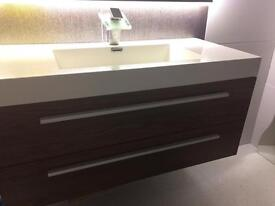 Wall Hung Walnut Basin Vanity Unit - 1000mm with colour changing tap