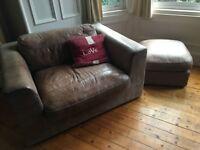 Fabulous Chocolate Brown African Leather Love Seat/ Large Arm Chair (Debenhams) PLUS footstool!