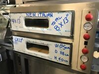 "CATERING COMMERCIAL KITCHEN EQUIPMENT NEW ITALIAN DOUBLE DECK 8 X 13"" PIZZA BAKERY OVEN CAFE KEBAB"