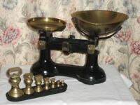 Cast Iron Scales with Imperial Brass Weights plus Cast Iron Metric Weights