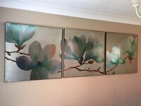 Collection of 3 Canvas flower prints