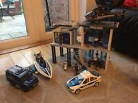 Playmobil Police station, police car, helicopter, riot truck and boat