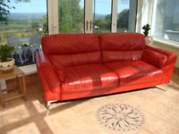 Red Real Leather 3 Seater Sofa Good Condition