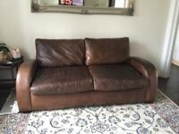 John Lewis Leather sofa bed and armchair