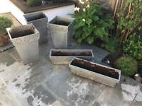 5 metal garden pots