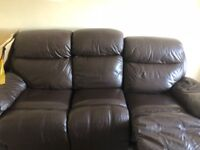 3+2 Seater Brown Leather Recliner Sofas
