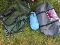 2 man tent sleeping bag and double air bed with pump used once