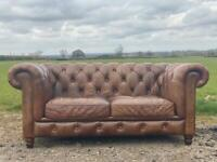 Beautiful Chesterfield John Lewis Brown Leather 2 Seater Sofa