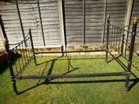 Victorian bed frame cast iron and brass