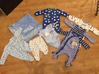 Boys baby clothes bundle, sleepsuits/blanket new baby