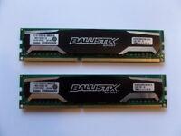 MATCHING PAIR Crucial Ballistix Sport 2 X 4GB DDR3 PC3-12800 1600MHz UDIMM