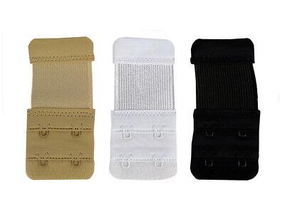 Bra Extender 3 PACK Ladies Bra Extension Black White Nude 2 Hook Underwear