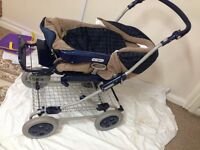 Pushchair pram with big basket fold able can deliver