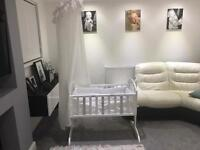 Stunning white, bling swing crib.
