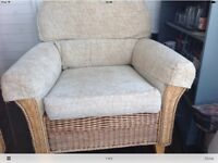 LARGE CONSERVATORY SOFA WITH ONE CHAIR EX CONDITION.
