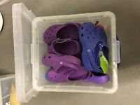 5-pack of Crocs in various sizes and colours