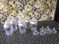 Tommee Tippee 9oz bottles x 6 with number one size teats and 6 x number 2 teats.