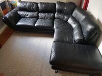Black leather L shape corner sofa